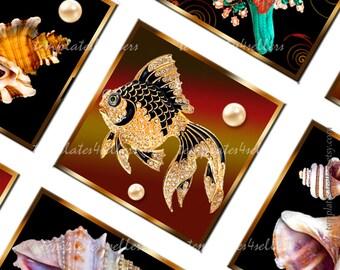 Digital Collage Sheet 1x1 inch size Jewellery Fish Rapan Original Square  490