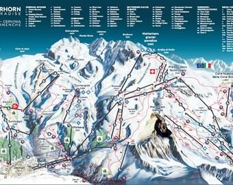 Swiss ski map Etsy