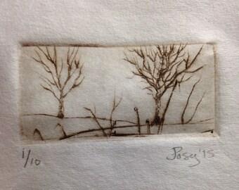 Art Gift - Quiet walk printmaking drypoint engraving art