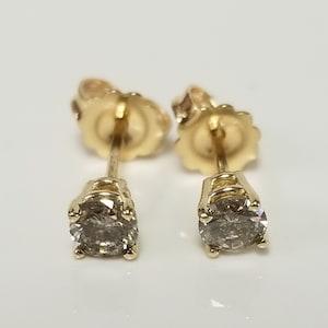 4mm Estate 14k Yellow Gold .40ct Diamond Studs Stud Wedding Champagne .35ct .45ct  GS2261