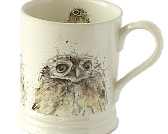 Owl Stoneware Mug - Bird Mug, Woodland Theme, Country Kitchen Gift, Cottage Decor, New Home Gift