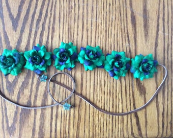 Green and Blue Flower Headband