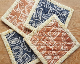 Quilted Coaster Set - Paris Stamps