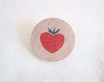 Strawberry wooden brooch