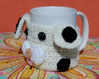 "Mug Warmers: ""DOG MUG COZY"" Dalmatian Crochet Mug Cozy , Mug Hug , Handmade Crochet , Coffee Cup Holder , Tea accessory A34"