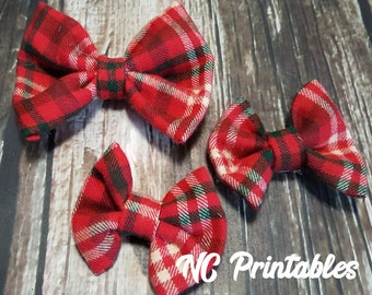 Christmas Red Green Plaid Dog Bow Tie