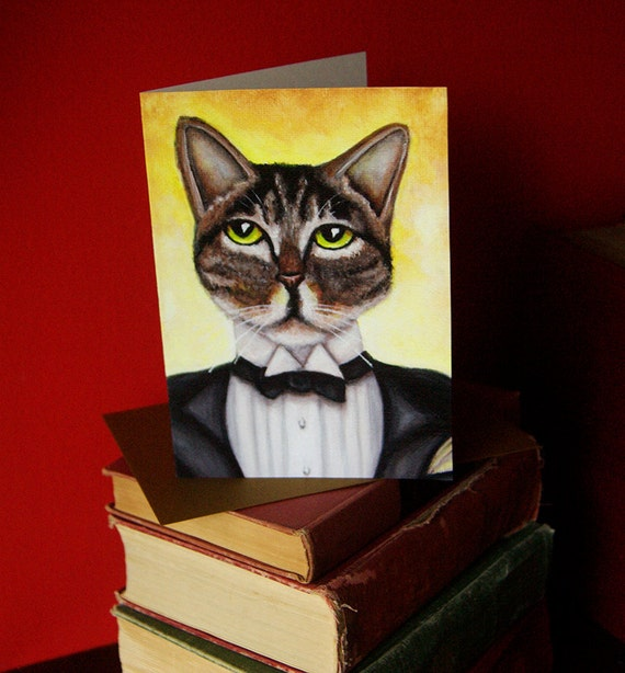 Jay Gatsby Cat 5x7 Blank Greeting Card