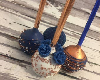 12 Rose Gold and Navy Blue Rose Wedding Birthday Party Cake Pop Favors