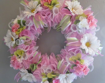 SpringWreath  Deco Mesh  Door Wreath  Mothers Day Summer Decor Daisy Wreath Wall Decor Home Accents