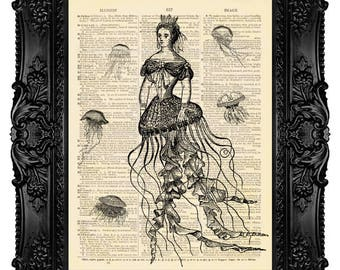 Jellyfish Queen, Mermaid - ORIGINAL ARTWORK - Dictionary Art Print Vintage Upcycled Antique Book Page no. 206