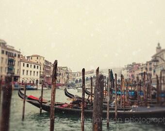 venice italy photography, travel photograph, europe decor, snow, boat photography, Gondolas on the Grand Canal V19