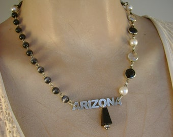 Arizona - Vintage Pewter Arizona Tag Black Beads Pearls Recycled Repurposed Jewelry Necklace