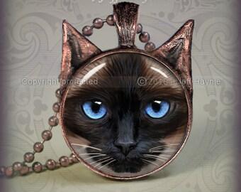 SI7 Chocolate Point SIAMESE CAT Pendant