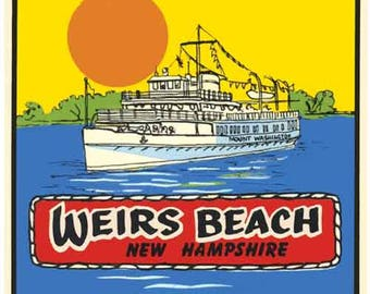 Vintage Style Weirs Beach NH New Hampshire     Travel Decal sticker