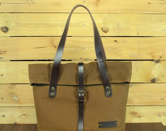 Waxed Canvas tote bag, Travel bag, canvas tote, waterproof tote bag, shopping bag, tote bag with leather.