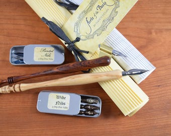 Deluxe Calligraphy Set with Dip Pens, Nibs, Ink, Inkwell, Paper, Instructions