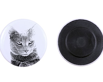 Magnet with a cat -Chartreux