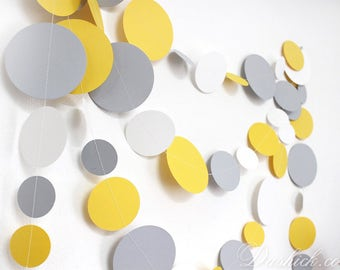 Yellow Gray White Paper Party Garland 14feet, Yellow Nursery Decor, Yellow Gray Wedding Garland, Yellow Gray Paper Garland, Yellow Decor