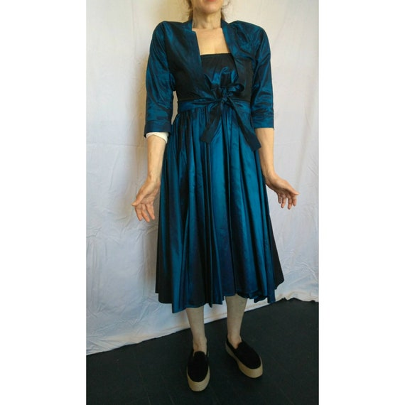 1980s Norma Kamali Blue satin New Look dress/two piece with Bolero