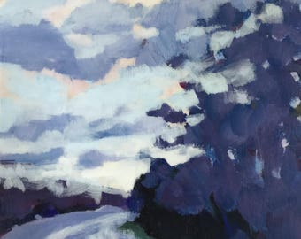 Driving Home - 6x6 inches original acrylic painting of a dramatic sunset sky over trees by Maryland landscape painter Barb Mowery