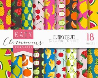 FUNKY FRUIT digital paper pack, printable patterns for DIY craft & scrapbooking - instant download.