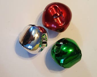 Distash-40mm Christmas Jingle Bells - Large - 3pc - Metal -1 each of Green, Red, and Silver colored