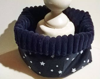 Snood/round neck cotton blanket Navy velvet star child 2/3 years