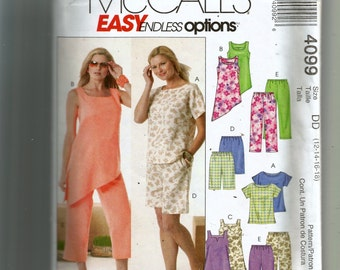 McCall's Misses' Top, Tunics, Shorts and Capri Pants Pattern 4099