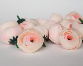 10 MINI Ranunculus in Peach and Blush - silk artificial flower, millinery flower, small flower - ITEM 0950