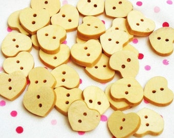buttons 10 wood in the shape of hearts - 10mm - 2 holes - light wood