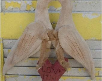 Spring Sale Primitive Valentine's Day Love Doves