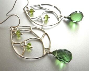 Peridot Earrings, Sterling Silver Chandelier, Serendipity Earrings, Olive Sage Quartz and Peridot, Boho Earrings, birthstone earrings