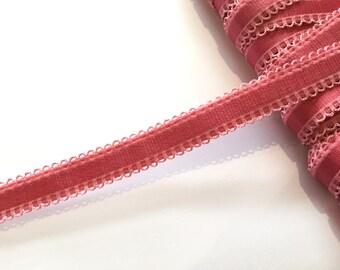 Raspberry Bra Strap Elastic Mini Loop Edges - 2 m / 12 - 15 mm - Lingerie Elastics