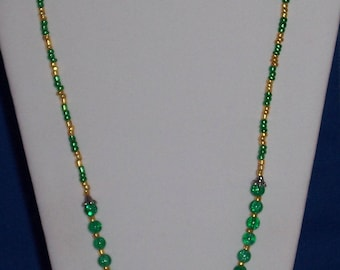 Emerald Green, May Birthstone,  and Gold Necklace with Matching Stretch Bracelet and Drop Earrings  Metal Bead Caps  Free Shipping