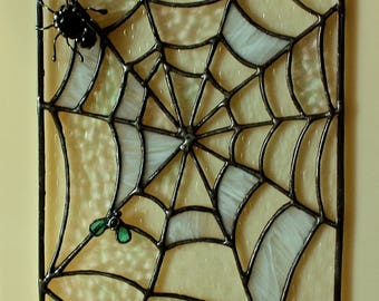 Stained Glass Panel Web with the Spider Window decor Original gift Stained Glass Art