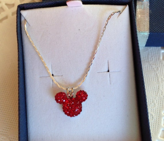 Mickey MOUSE EARS Necklace-Disney Inspired Wedding Party-Bright Red Acrylic-Tinker Bell Gift-Flower Girl
