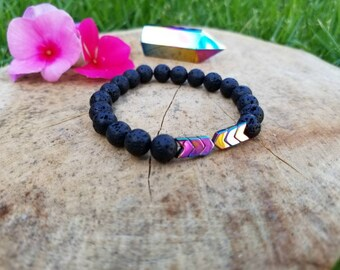 Lava Stone Diffuser Bracelet/ Hematite Arrows/ Essential Oils bracelet/ Aromatherapy bracelet/ Yoga Meditation bracelet/ Spiritual jewelry
