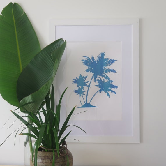 Palmtree Fine Art Print A2 Mixed Blue Screen-print on 300gsm textured cotton Paper Limited Edition