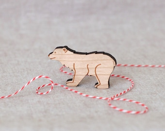 Polar Bear Pin - Holiday brooch stocking stuffer