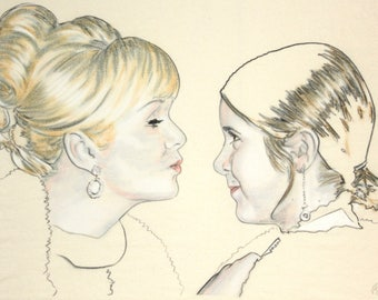 Original hand drawn portrait of Debbie Reynolds and Carrie Fisher, in charcoal and pastel on calico
