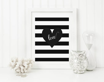 Printable Wall Art, Love Black and White Heart Printable Art, Inspirational Quotes, Typography Art, Digital Print, Black White Art Print