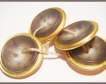 4 buttons round gold - sewing or scrapbooking