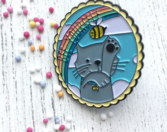 Ted says Bee Yourself enamel pin - motivational - self care - cat - rainbow - button - flair - positive - animal lover - happiness - pet