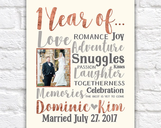 Featured listing image: 1 Year Anniversary Gifts, 1 Year of...Choose ANY year - Personalized Gift, Anniversary for Wife, Husband, First Year Together, Paper | WF304