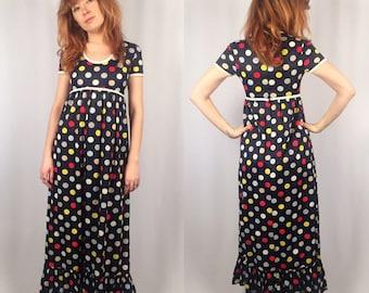 Vintage 1970's Polka Dot Maxi Dress Size SMALL