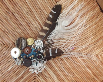 Skagen Birdspotting - ATS or tribal fusion belly dance hair clip | Gatsby flapper art deco  fascinator 1920 party ball (M)