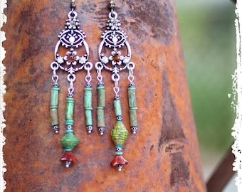 Long Gypsy Bollywood Chandelier Earrings Gift for Her Rustic Boho Statement Beaded Dangle Earrings