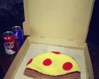 pizza crochet hat/beanie pepperoni pizza
