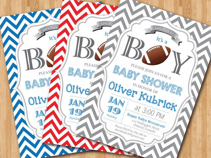 Football Baby Shower Invitation. Baby boy chevron invites.