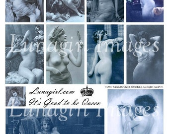 GOOD to be QUEEN vintage nudes digital collage sheet, DOWNLOAD Blue vintage photos risque French postcards women, Paris ephemera altered art